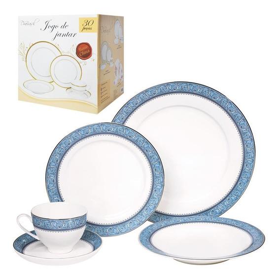 Jogo De Jantar 30 Pecas Porcelana Prato Xicara Pires Cozinha