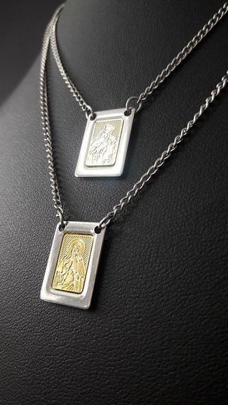Corrente Aço Inox Escapulário N.s. Do Carmo Proteção Divina