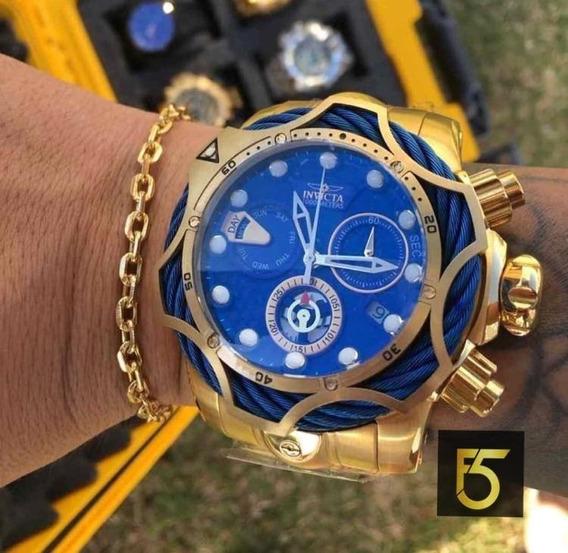 Relogio Masculino Invicta Venom 26651 Dourado Azul + Pulseira De Brinde