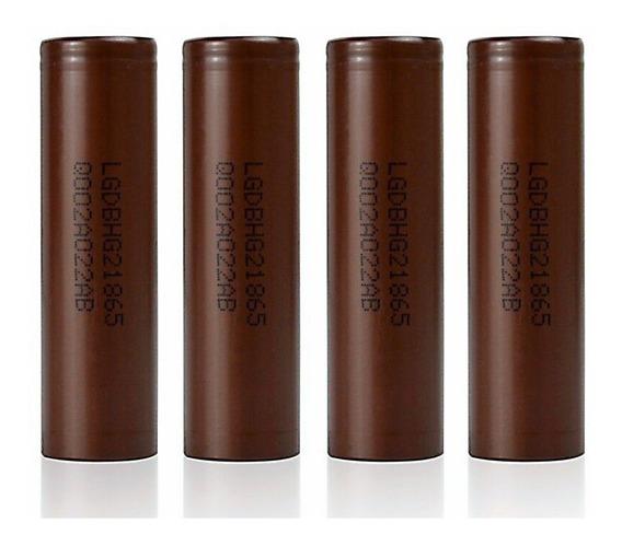04 Baterias Lg Hg2 18650 3000mah 20a Chocolate Vape Genuína