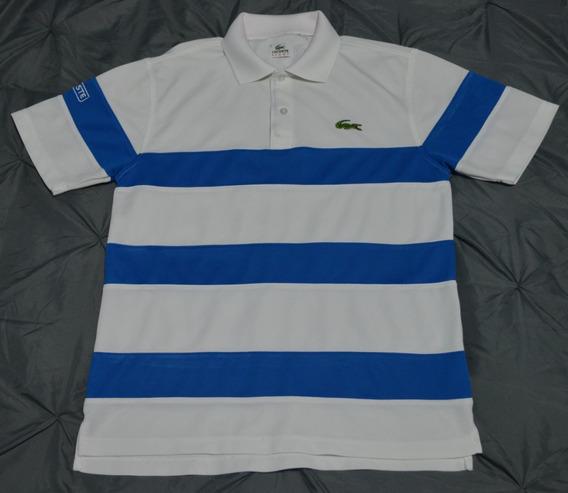 Lacoste Sport - Polo - Talla 3 - Blanco Y Azul