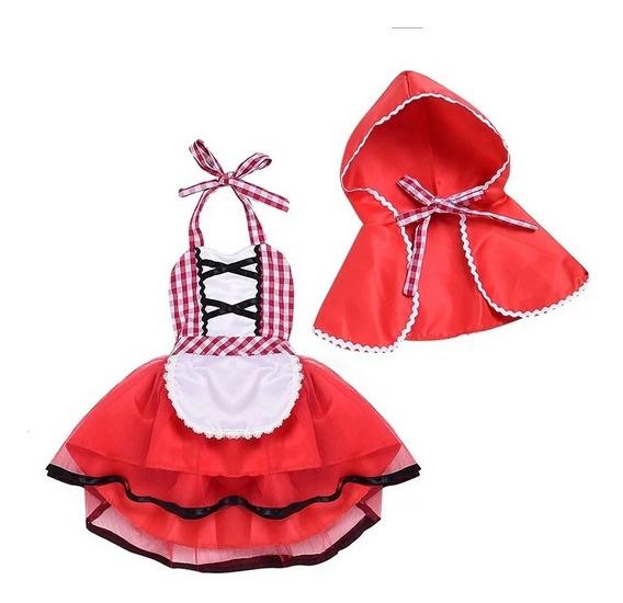 Fantasia Bebe Menina Chapeuzinho Vermelho Presente Carnaval