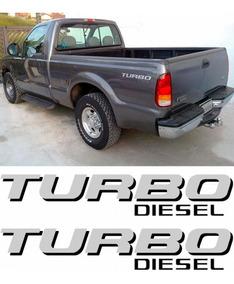 Par De Adesivos Turbo Diesel Para Picape Ford F250 - Prata
