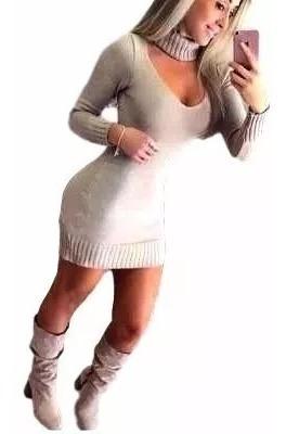 Vestido Tricot Mini-vest Gola Alta Tecido Grosso Panicat