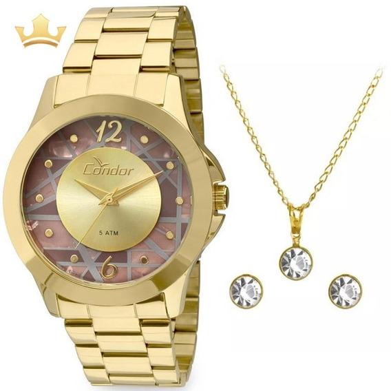 Relógio Condor Feminino Kit Co2036cs/k4m Com Nf
