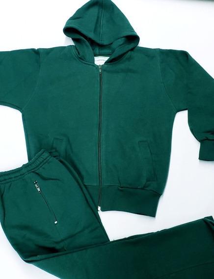 Conjunto Verde Friza Algodón Colegial Talles 4 Al 16 L Y J
