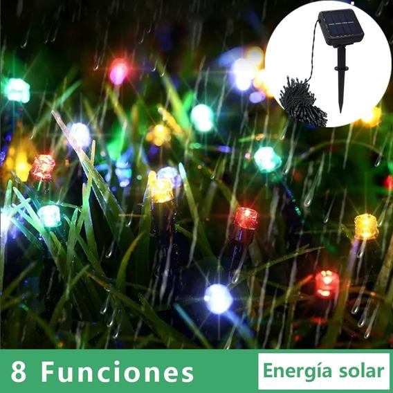 Serie Navideña Solar Tira Luces 12m 100 Leds Multicolores