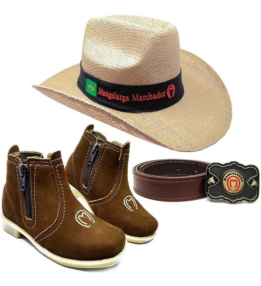Kit Infantil Botina Country + Cinto + Chapeu Cowboy Peao Mm