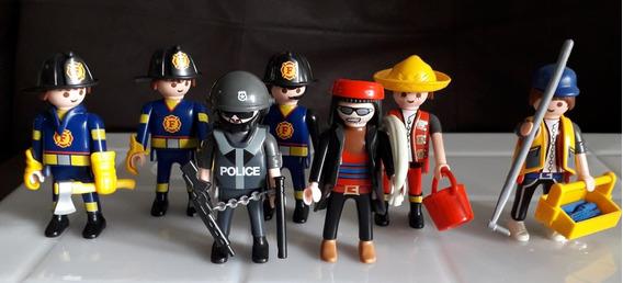 Playmobil Cj Bombeiros/policia + Cj Banda Punk C/acessorios