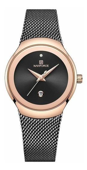 Relógio Feminino Inox Casual Pulseira Aço 30m Preto Dourado