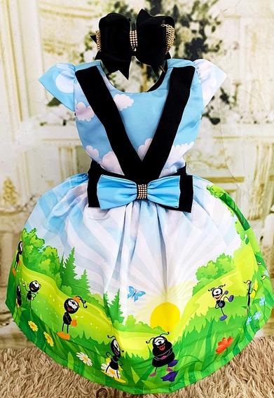 Vestido Temático Super Luxo Swilinguido Formiguinha