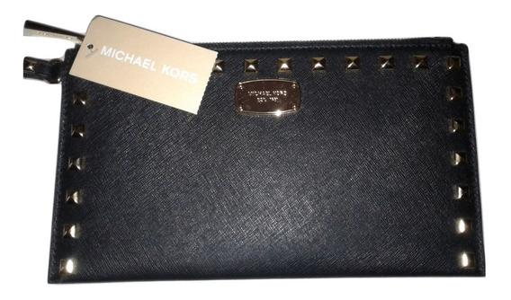 Michael Kors Sobre Clutch Billetera Jet Set Cuero Negro Gold Importado