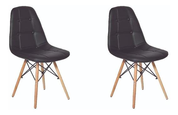 Kit 2 Cadeira Estofada Eames Eiffel Design Moderno