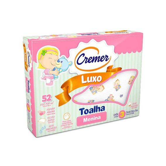 Cremer Luxo Toalha Infantil Estampada Menina C/3