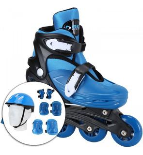 Kit Patins Radical Roller Masculino Com Capacete E Proteções