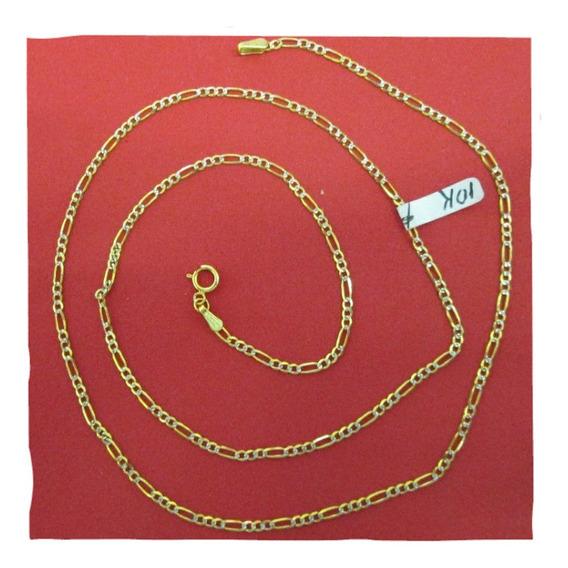 Cadena Fígaro Diamantada Oro Solido 10 Kilates 2 Mm Y 40 C