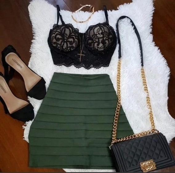 Conjunto Short-saia + Cropped Bengaline Moda Bloguerinha