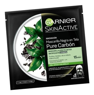 Mascarilla Matificante Tela Negra Garnier Pure Carbon Detox