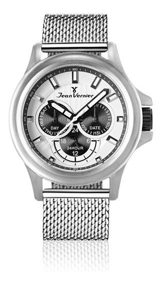 Relógio Jean Vernier Vidro Cristal Mineral Masculino Moderno