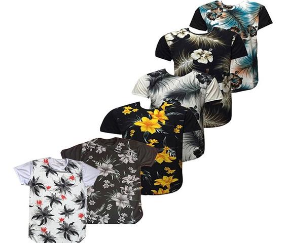 6 Camiseta Masculino Longline Oversize Swag Camisa Floral