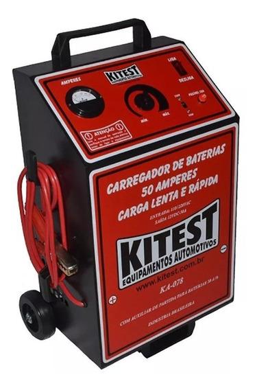 Carregador De Bateria Lento E Rápido 50a Com Auxliar Kitest