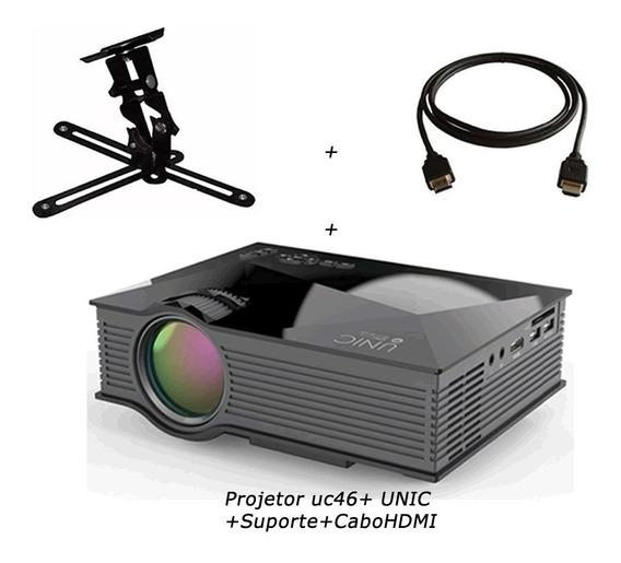 Projetor Uc46 Nova Versão + Suporte + Cabo Hdmi, Nova Versão