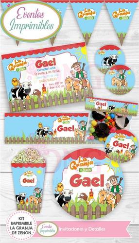 Kit Imprimible La Granja De Zenon Cumpleaños Decoración