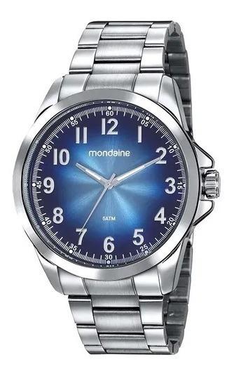 Relógio Mondaine Masc Prata Fundo Azul, 99418g0mvne2