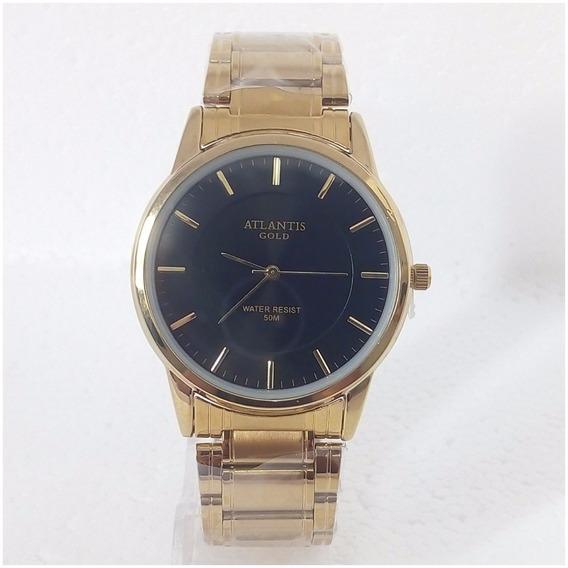 Relógio Masculino Dourado Atlantis Gold Original Super Vip