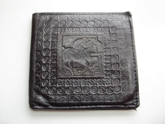 Billetera Antigua De Hombre Cuero Labrado Publicidad Art. Para Herradores
