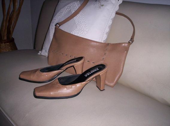 Zapatos Puntera Color Beige Con Carterita.