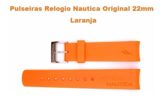 Pulseiras Relogio Nautica Original 22mm Na Cor Laranja Nova