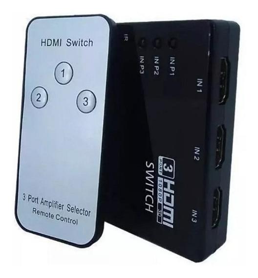Switch Hdmi Chaveador Seletor Hub Full Hd 1080p 3x1 Knup