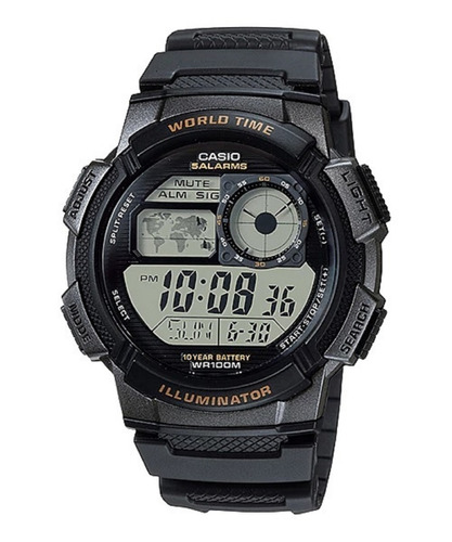 Reloj Casio Ae-1000w-3av Original Resiste Agua Pila 10 Años