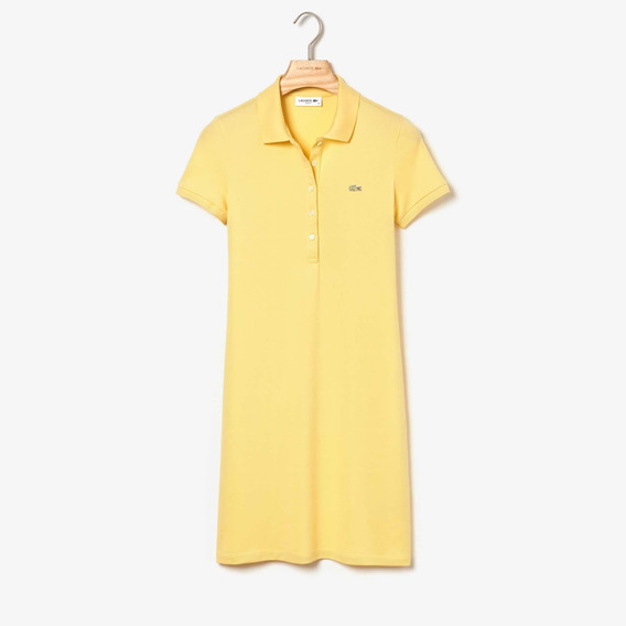 Vestido Lacoste Para Dama Tipo Polo Slim Fit Color Amarillo