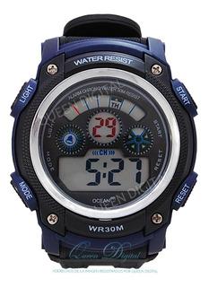Reloj Sumergible 30m Hombre Deportivo Crono Alarma Luz Ocean