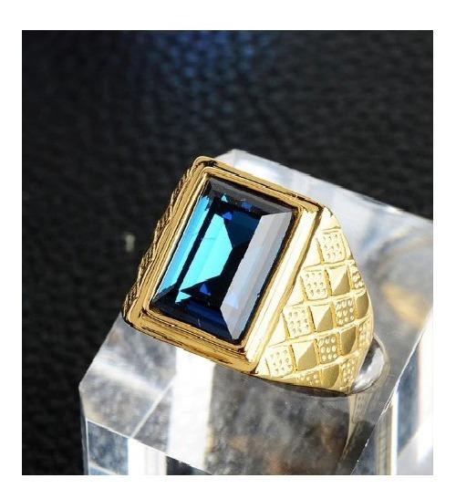 Anel Comendador Masculino Pedra Azul Aço Inox Banhado Ouro