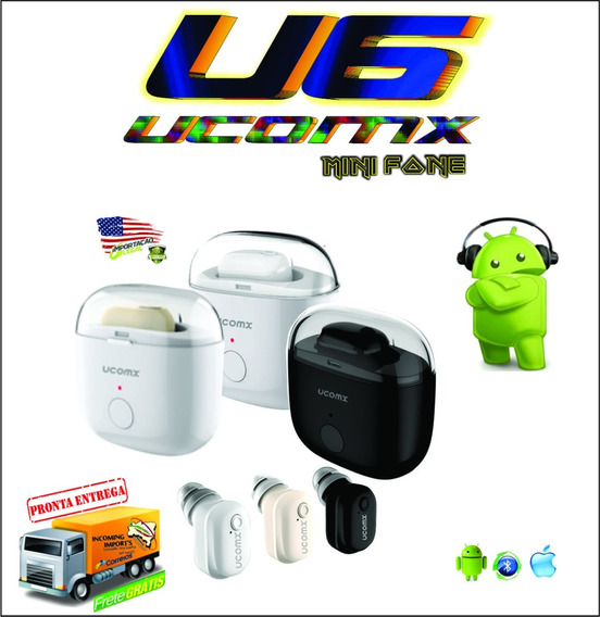 Mini Fone De Ouvido Intra Auricular U6-p-v4.2-bluetooth