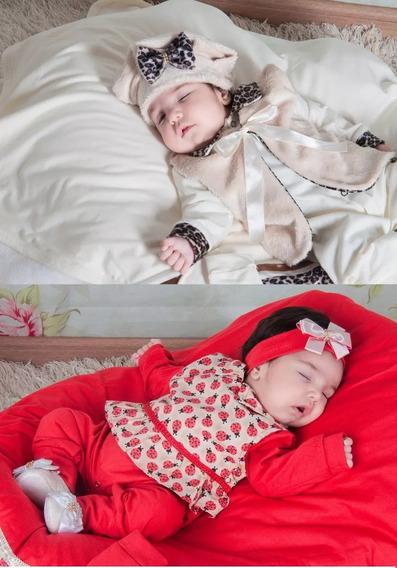 2 Saidas Maternidade Joaninha Vermelha +oncinha Creme