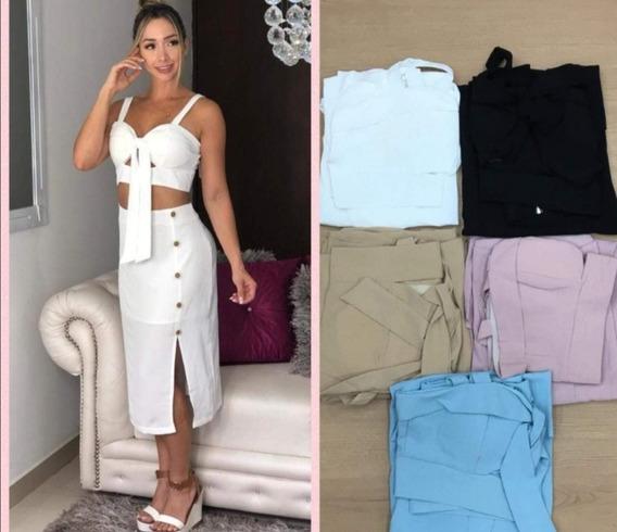 Set Conjunto Falda Y Crop Top Falda Botones Moda Mujer 2019