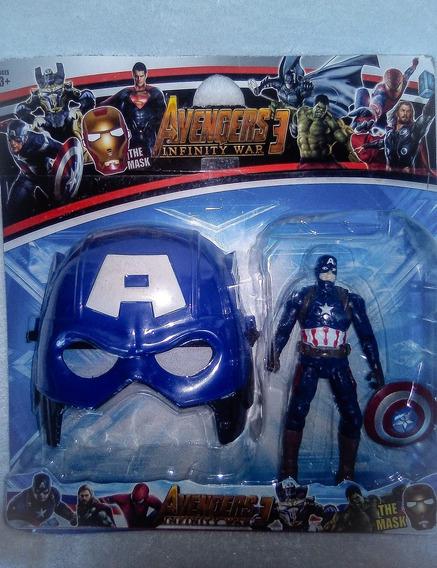 Capitan America Mascara + Figura 20 Cm Super Héroes