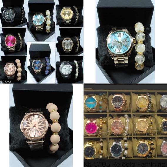 Kit Com 10 Relógios Variados Na Caixa E Com Pulseira