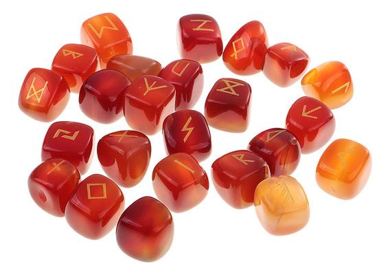 25 Peças Runas Futhark Rock Cristal Gemas Adivinhação Oracle