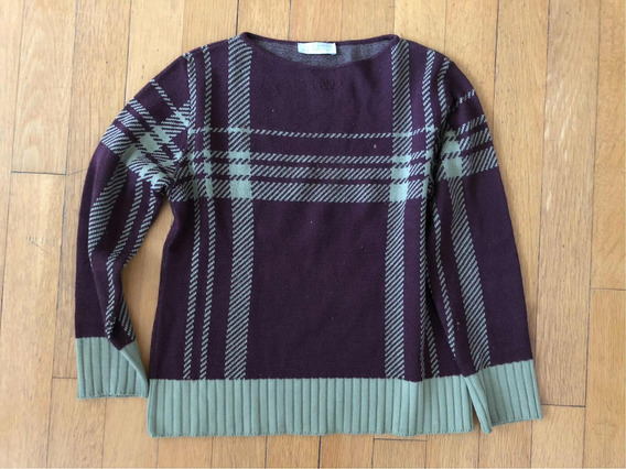Sweter Bordo Con Verde. Cuello Redondo
