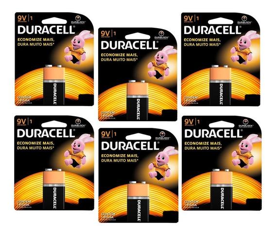 Kit Com 6 Baterias 9v Pilha Duracell Alcalina Frete Grátis
