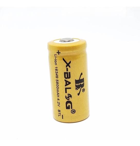 Bateria Pilha Gold Recarregável 16340 4,2v Cr123a