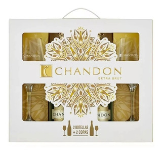 Estuche Chandon Extra Brut, 2 Botellas + 2 Copas.--