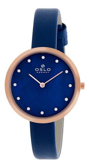 Relogio Oslo Feminino Slim Ofrscs9t0001 Pu-azul Caixa Rose