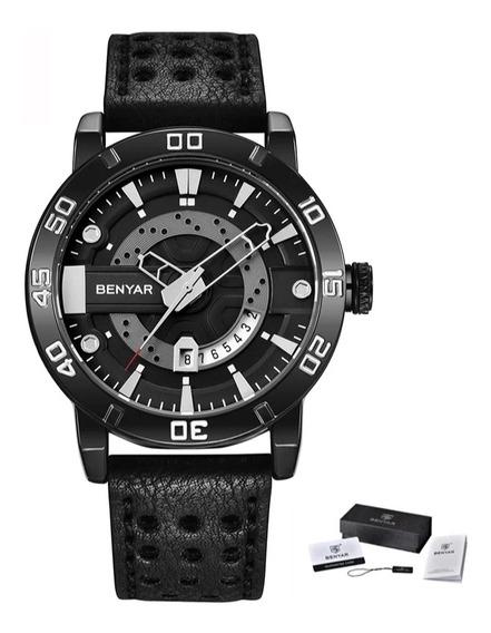 Relógio Masculino Benyar 5150 Original Preto+ Couro Legitimo
