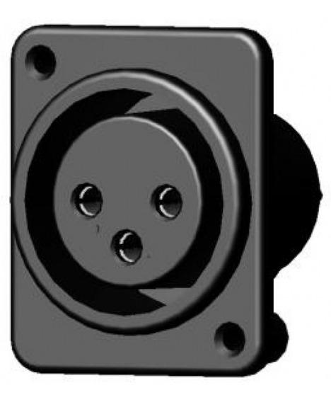 Conector Painel Xlr Fêmea Pino 180º P/ Solda